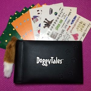 Dog scrapbook photo album with stickers and paper